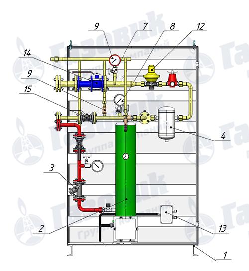 Состав испарительной установки Propan 1-1-160