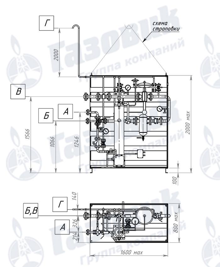 Трубопроводная обвязка испарительной установки Propan 1-1-240, схема