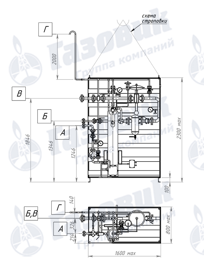 Чертеж трубопроводной обвязки испарительной установки Propan 1-1-320