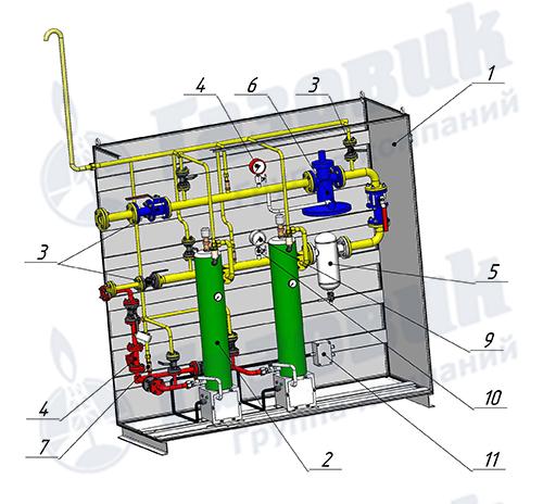 Схема комплектации электрического испарителя Propan 1-1-480